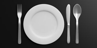 Place Setting isolated on black background. 3d illustration. Place Setting with Plate, Knife, Spoon and Fork isolated on black background. 3d illustration Stock Photos