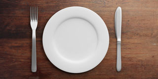 Place Setting isolated on wooden background. 3d illustration Stock Photo