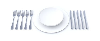 Place setting for long meal. Place setting with a white plate and lots of cutlery suggesting a long menu Vector Illustration