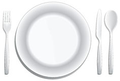 Place setting. A modern place setting  on white Royalty Free Stock Images