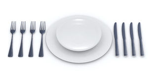 Place setting for a multiple courses menu Royalty Free Stock Photography