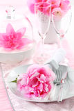 Place setting in pink Royalty Free Stock Photography