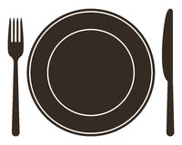 Place setting with plate, knife and fork Stock Images