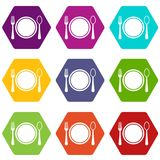Place setting with plate,spoon and fork icon set color hexahedron. Place setting with plate,spoon and fork icon set many color hexahedron isolated on white Stock Photography