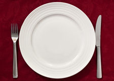 Place Setting on Red Royalty Free Stock Photo