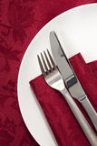 Place Setting on Red. Damask tablecloth stock photos