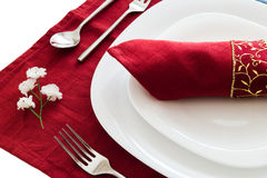 Place setting on red Royalty Free Stock Image