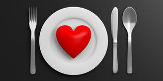 Place Setting and red heart on black background. 3d illustration Royalty Free Stock Images