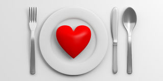 Place Setting and red heart on white background. 3d illustration Royalty Free Stock Images