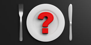 Place Setting and red question mark on black background. 3d illustration. Red question mark on a Plate on black background. 3d illustration Stock Image