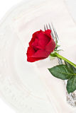 Place Setting with Red Rose Royalty Free Stock Images