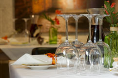 Place setting at restaurant stock photos