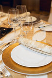 Place setting in restaurant Royalty Free Stock Photography
