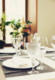 Place setting in a restaurant, toned image Stock Photography