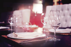 Place setting in a restaurant, toned Stock Images