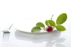 Place setting with rose Royalty Free Stock Image