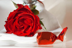 Place setting with a rose and candy Stock Image