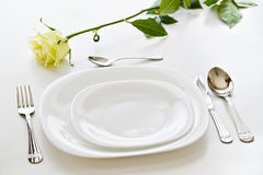Place setting with rose flower Royalty Free Stock Image
