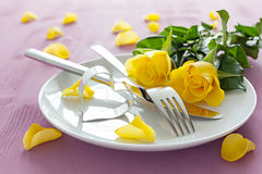 Place setting with roses Stock Image