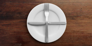 Place Setting, second plate signal, on wooden background. 3d illustration Royalty Free Stock Images