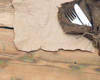 A place setting with silver fork and knife Royalty Free Stock Photography