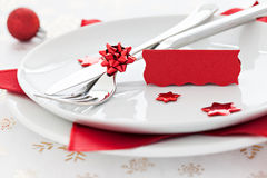 Place setting with tag. And copy space Royalty Free Stock Photography
