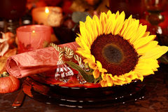 Place setting for Thanksgiving Stock Photo