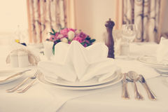 Place setting, toned photo Stock Photos