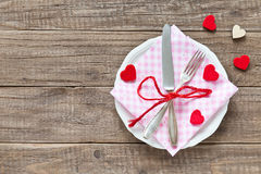 Place setting for Valentines day Royalty Free Stock Photos