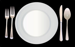 Place Setting Vector Illustration. This is a vector illustration of a place setting including one white dinner plate and silverware on a black background Royalty Free Stock Photography