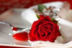 Place setting very noble in red Stock Photos