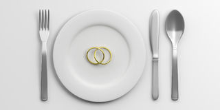 Place Setting and wedding rings on white background. 3d illustration Stock Photo