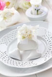 Place setting in white Royalty Free Stock Images