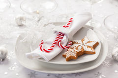 Place setting in white for Christmas Royalty Free Stock Photography