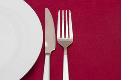Place setting with white round plate Royalty Free Stock Image
