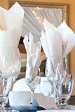 Place setting with wine glasses and place card Stock Photos