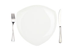 Place Setting With High-gloss Plate, Knife & Fork. Stock Images
