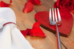 Place setting on a wooden table in country style Royalty Free Stock Photos