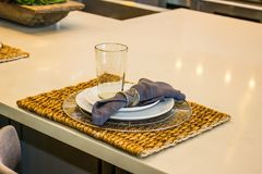 Place Setting On Woven Mat Royalty Free Stock Images