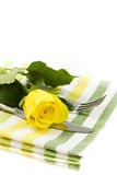 Place setting with yellow rose royalty free stock image