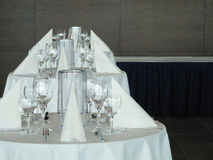 Place settings on banquet tables Royalty Free Stock Photo