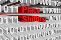Place shifting. In the form of binary code, 3D illustration Royalty Free Stock Images