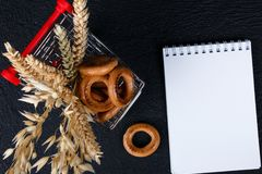 Place for shopping list, mock up design stock images