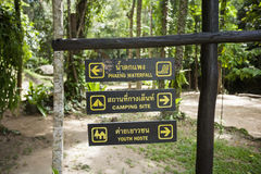 Place signs hanging on signpost, Koh Pha Ngan, Thailand Stock Photos