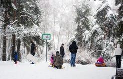 Sledding in winter Park. Place for sledding in winter Park Royalty Free Stock Photo