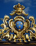 Place Stanislas 03, Nancy, FR. The crest of Lorraine province in France on one of the gilded wrought iron gates surrounding the 4 corners of Place Stanislau in Stock Photography