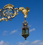 Place Stanislas 04, Nancy, FR. Lantern on the gilded wrought iron gates surrounding the 4 corners of Place Stanislau in Nancy and designed by Jean Lamour. Place Stock Images