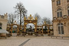 Gate on the Stanislas Place in Nancy. The Place Stanislas is a large pedestrianized square in the French city of Nancy, in the Lorraine region. The place is 125 royalty free stock photos