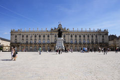 Place Stanislas (Nancy - France). View of the famous Place Stanislas of Nancy (France), with the monument of Stanislas and the Hotel de Ville on the background Stock Photography