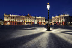 Place Stanislas, Nancy, France at dawn. Streetlamp in Place Stanislas, Nancy, France at dawn Royalty Free Stock Photo